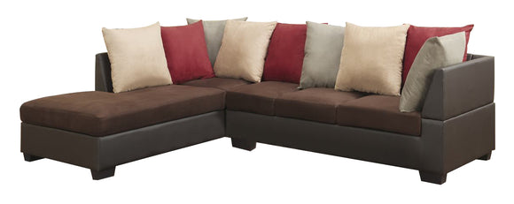 Global Furniture U88018 3-Piece Sectional in Chocolate-Microfiber image