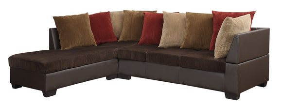 Global Furniture U88018 3-Piece Sectional in Chocolate-Corduroy image