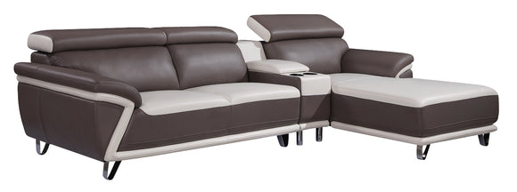 Global Furniture U7480 3-Piece Sectional in Blanche Milky/ Blanche Grey image