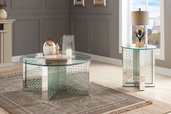 Nysa Mirrored & Faux Crystals Coffee Table image