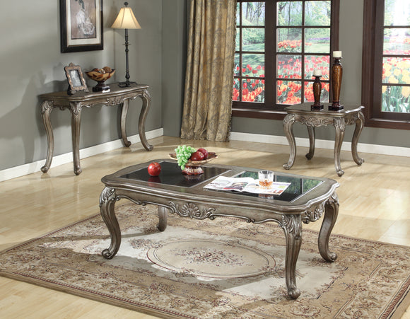 Chantelle Black Granite & Antique Platinum Coffee Table image