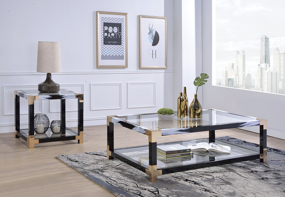 Lafty White Brushed & Clear Glass Coffee Table image