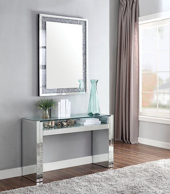 Nysa Mirrored & Faux Crystals Sofa Table image