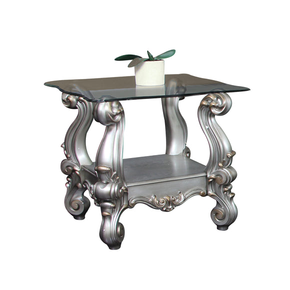 Versailles Antique Platinum & Clear Glass End Table image