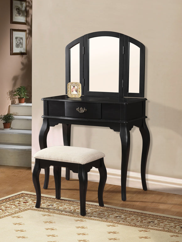 Maren Black Vanity Desk & Stool image