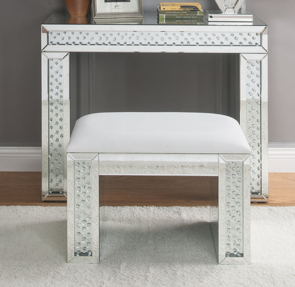 Nysa Ivory PU, Mirrored & Faux Crystals Vanity Stool image