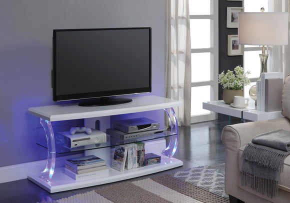 Aileen White & Clear Glass TV Stand image