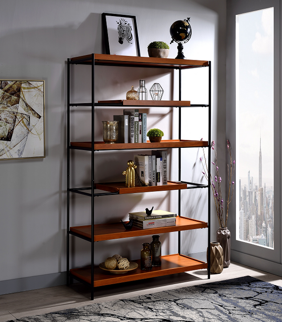 Oaken Honey Oak & Black Bookshelf image