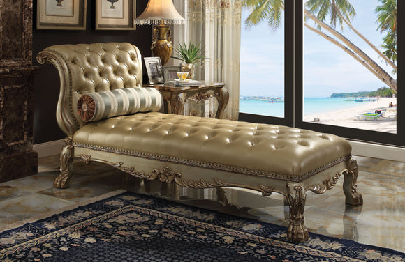 Dresden Bone PU & Gold Patina Chaise & Pillow image