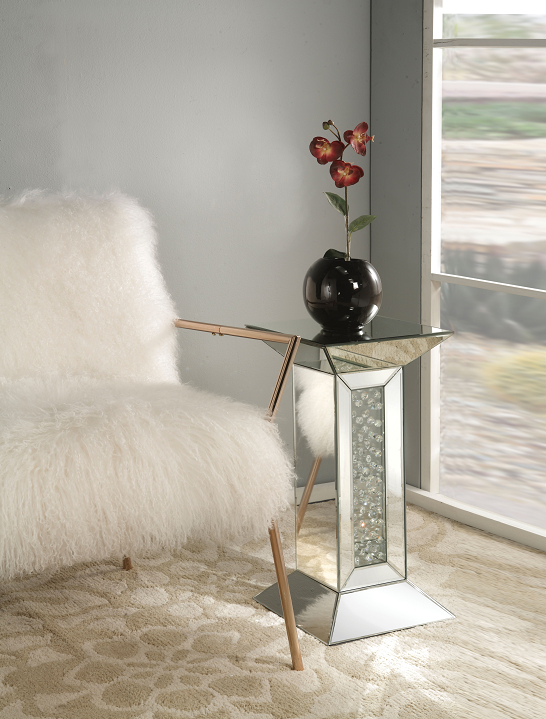 Nysa Mirrored & Faux Crystals Pedestal Stand image