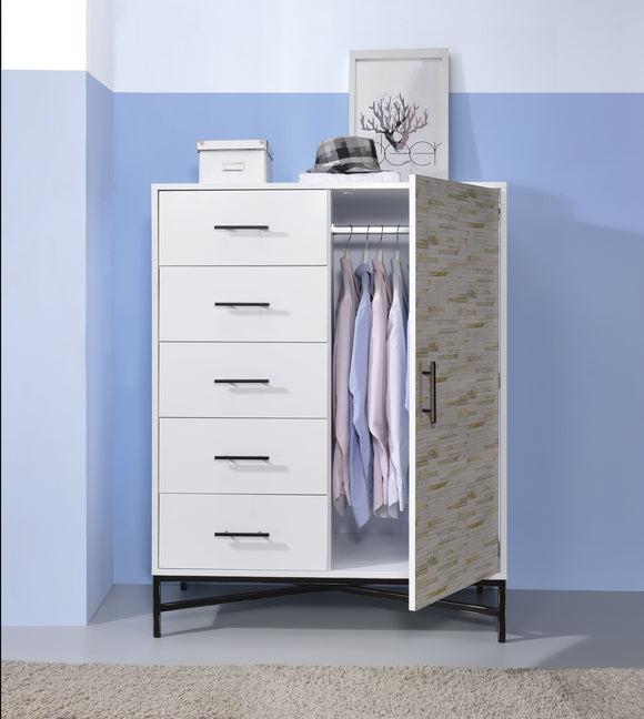 Uma White & Weathered Wood Pattern Wardrobe image