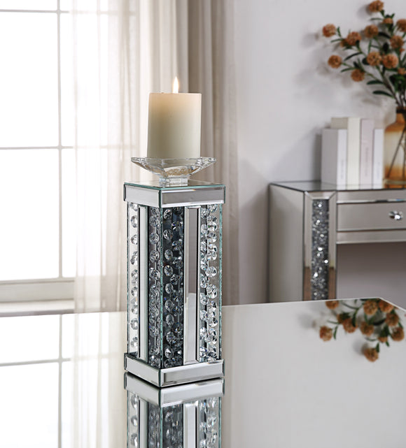 Nysa Mirrored & Faux Crystals Accent Candleholder image