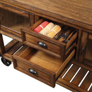 Kadri Distressed Chestnut Kitchen Cart image