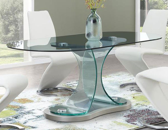 Global Furniture D1713 Dining Table in Clear/Champagne D1713DT image