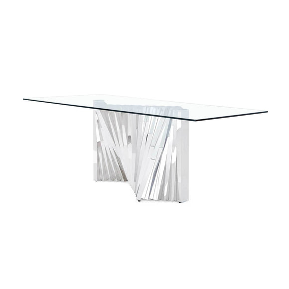 Global Furniture D2056 Dining Table in Clear/Stainless Steel D2056DT image