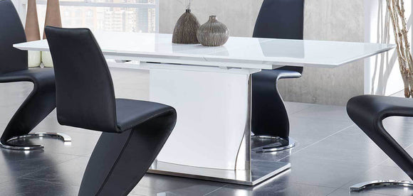 Global Furniture D2279 Dining Table in White/Stainless Steel D2279DT image