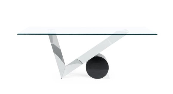 Global Furniture D987 Dining Table in Matte Black/Stainless Steel D987DT image