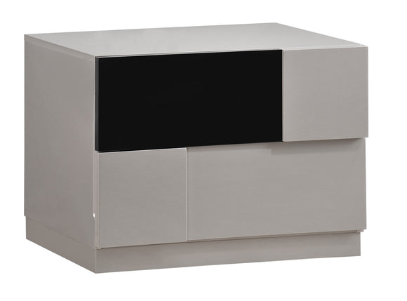 Global Furniture Bianca 2 Drawer Nightstand in Gray/Black image