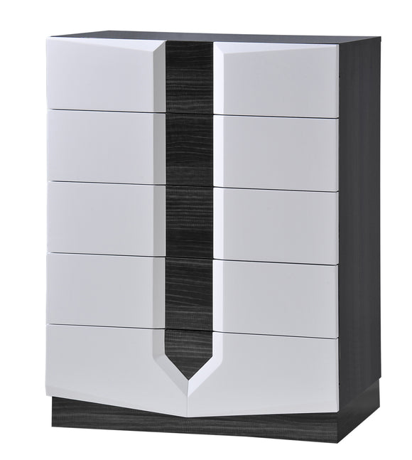 Global Furniture Hudson 5 Drawer Chest in Zebra Grey/White image