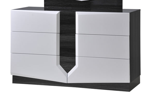 Global Furniture Hudson 6 Drawer Dresser in Zebra Grey/White image