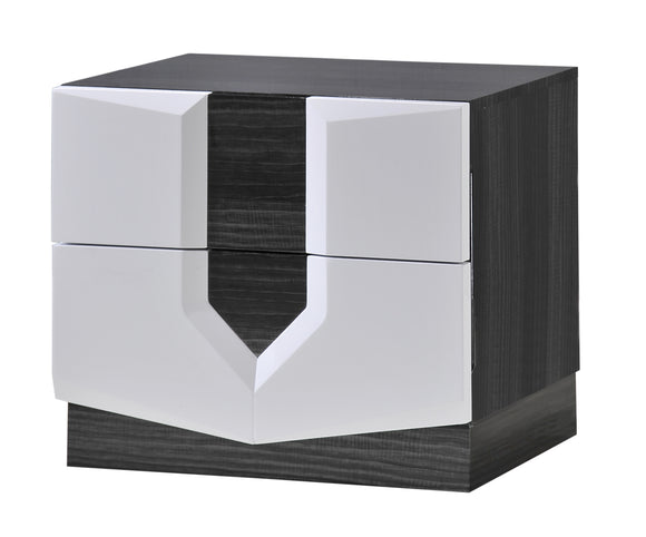 Global Furniture Hudson 2 Drawer Nightstand in Zebra Grey/White image