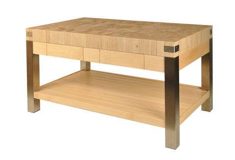 Butcher block island in charm and stainless steel legs