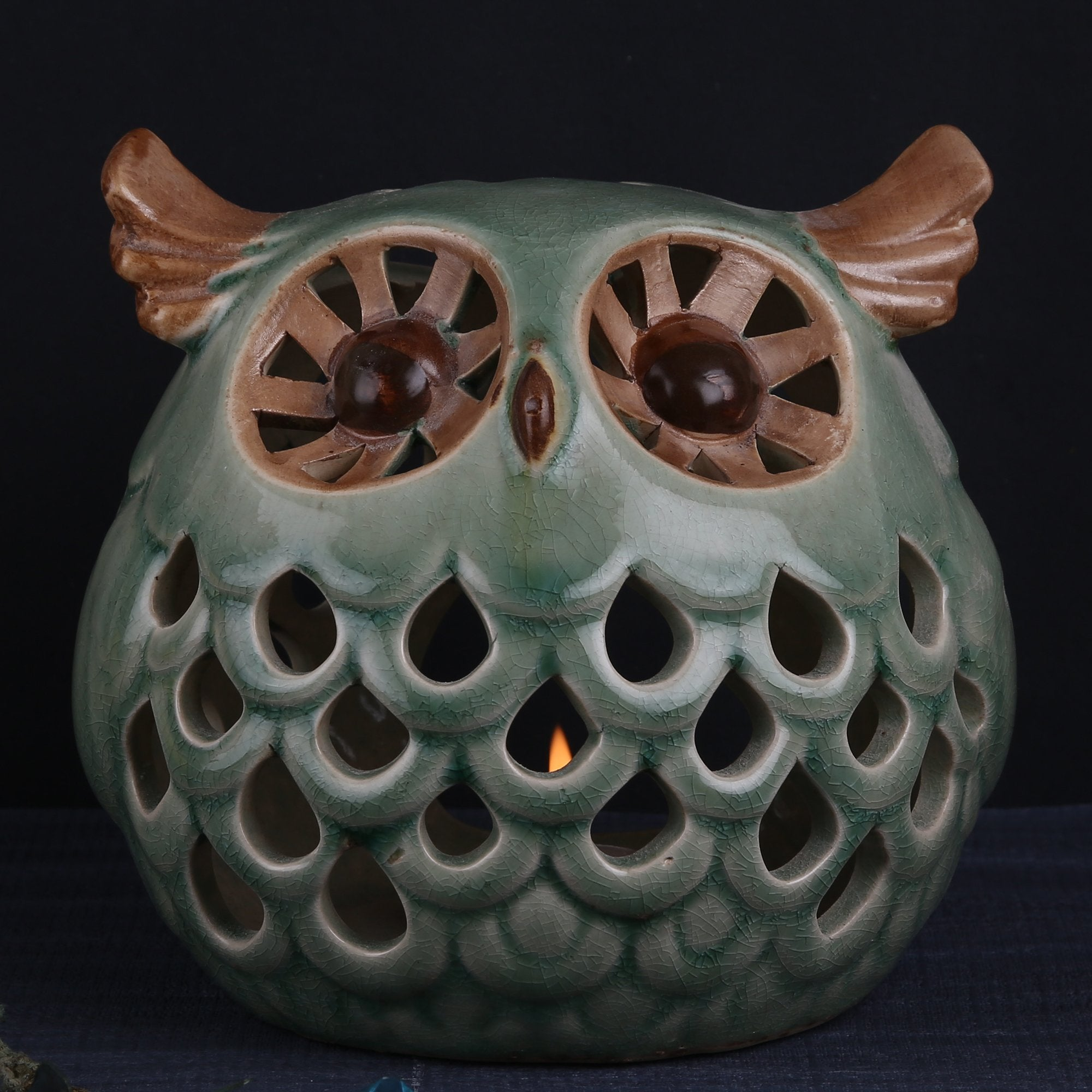 Owl Sculpted Candle Stand - Teak Tale