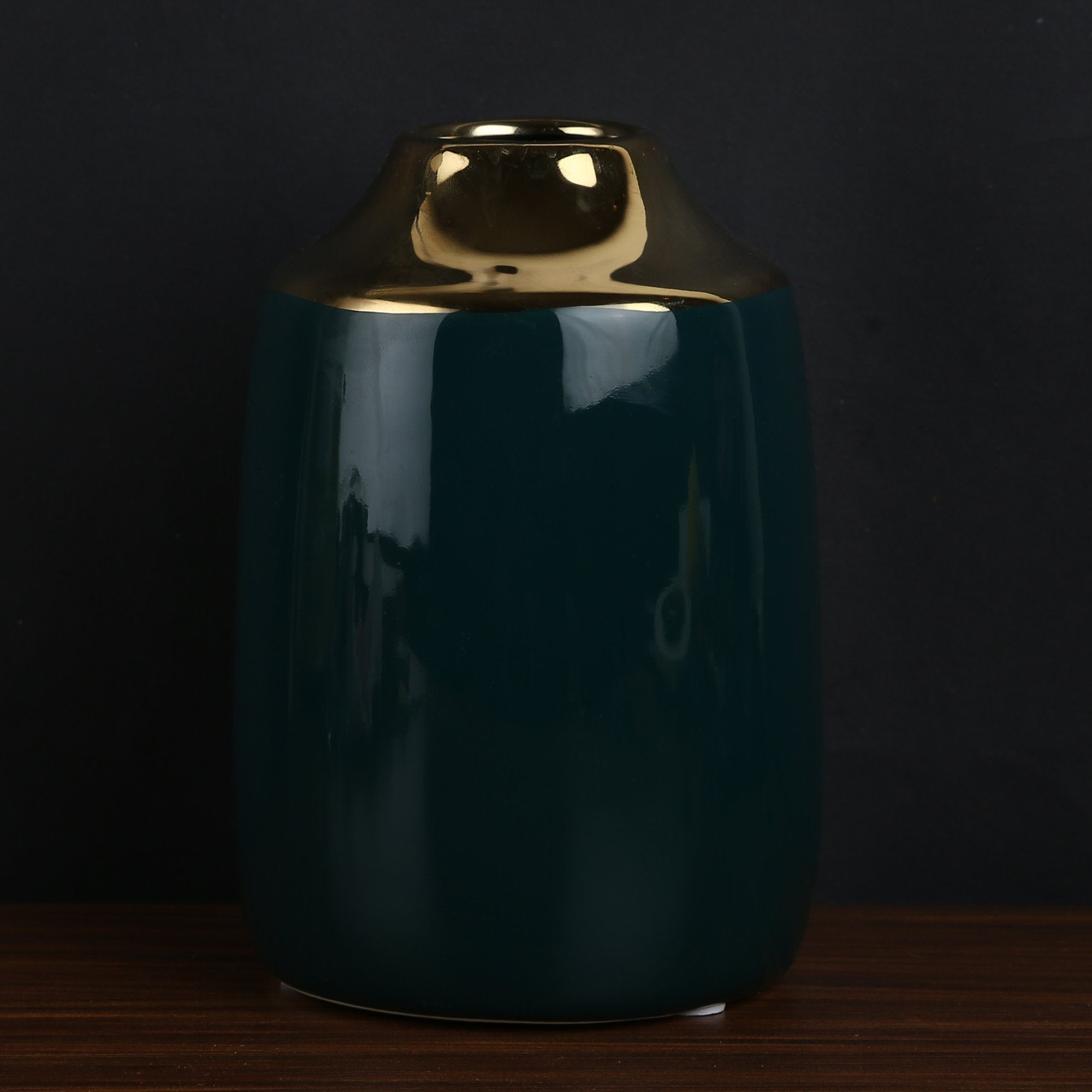 Olive Green & Golden Flower Vase