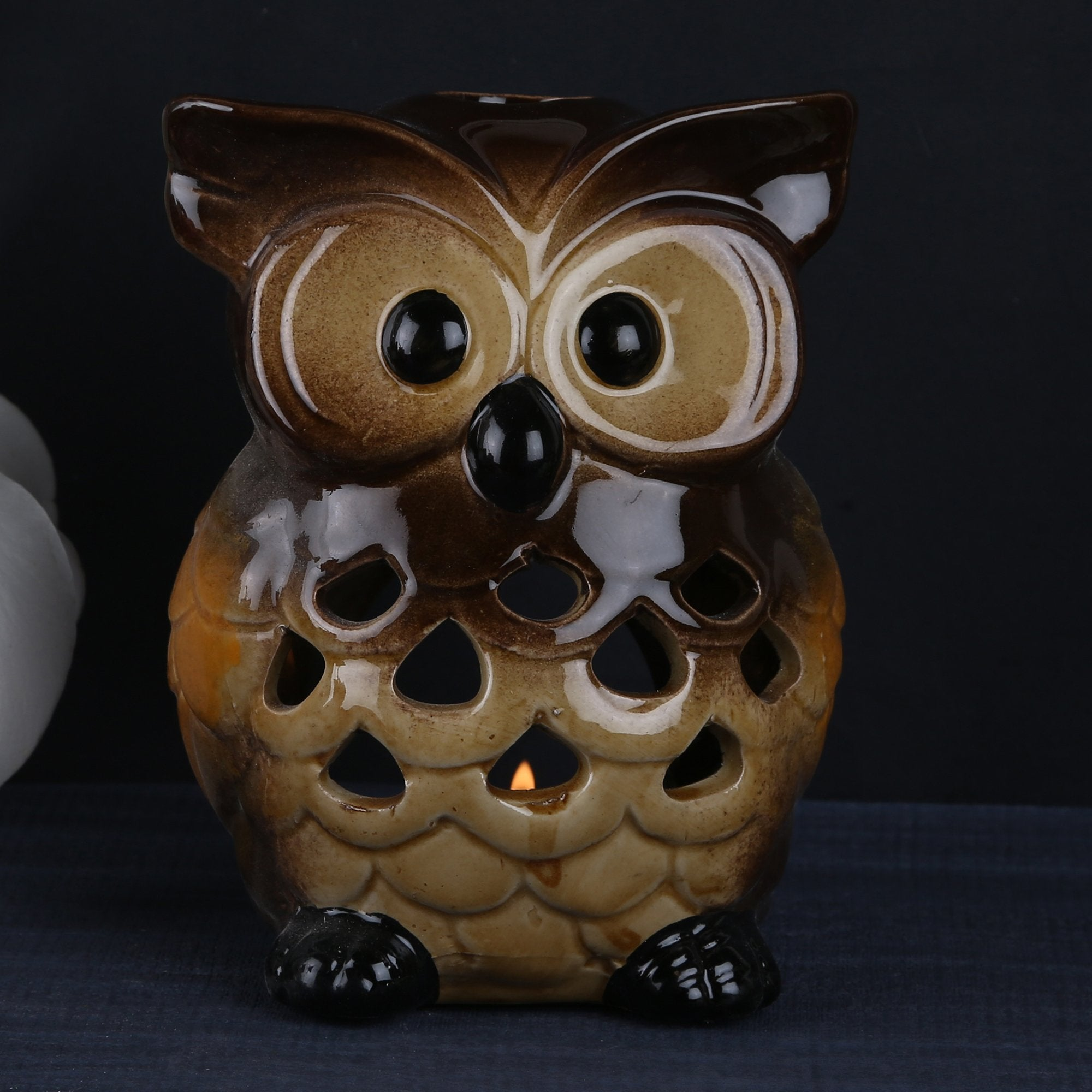 Owl Candle Stand - Teak Tale