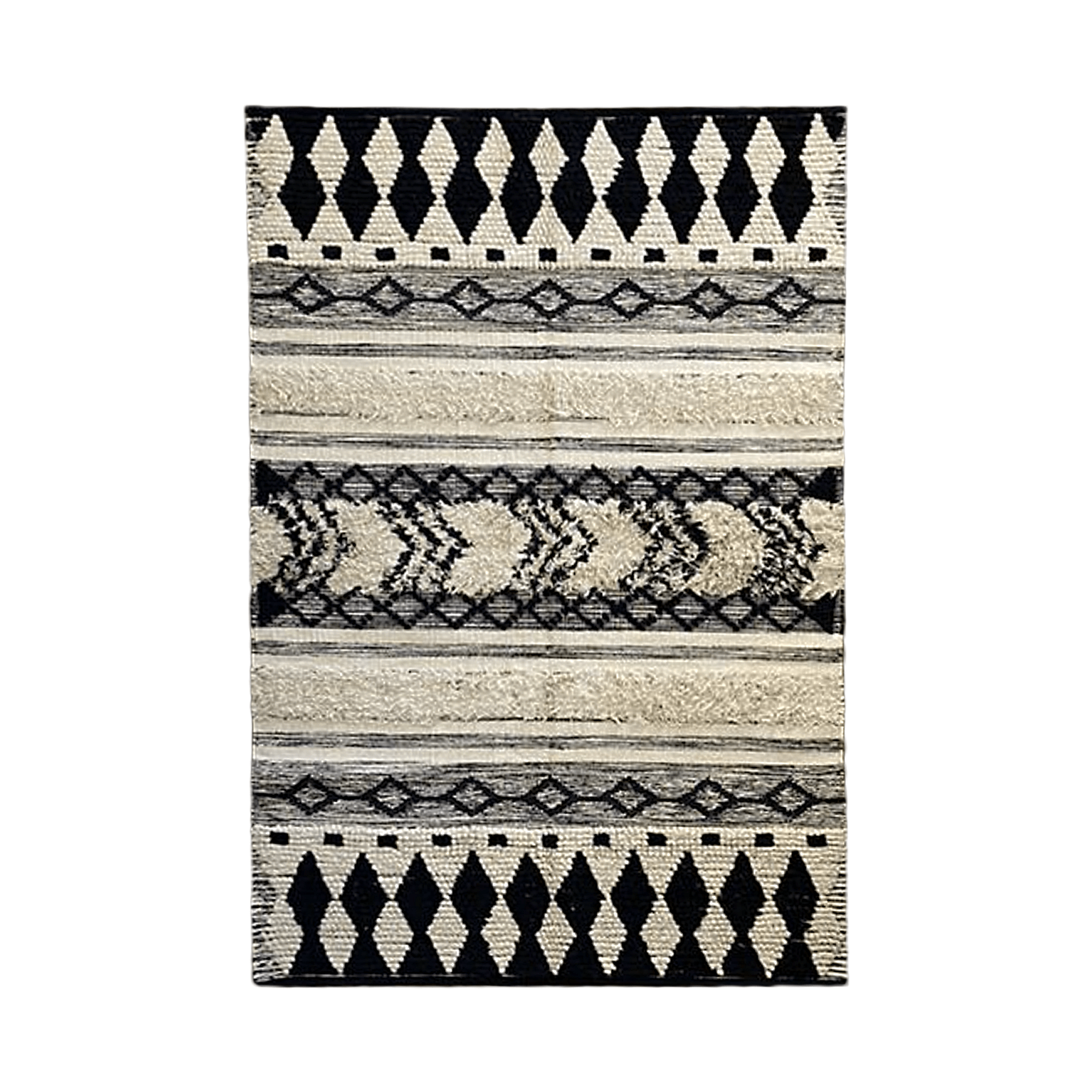 Black Abstract Pattern Carpet - Teak Tale