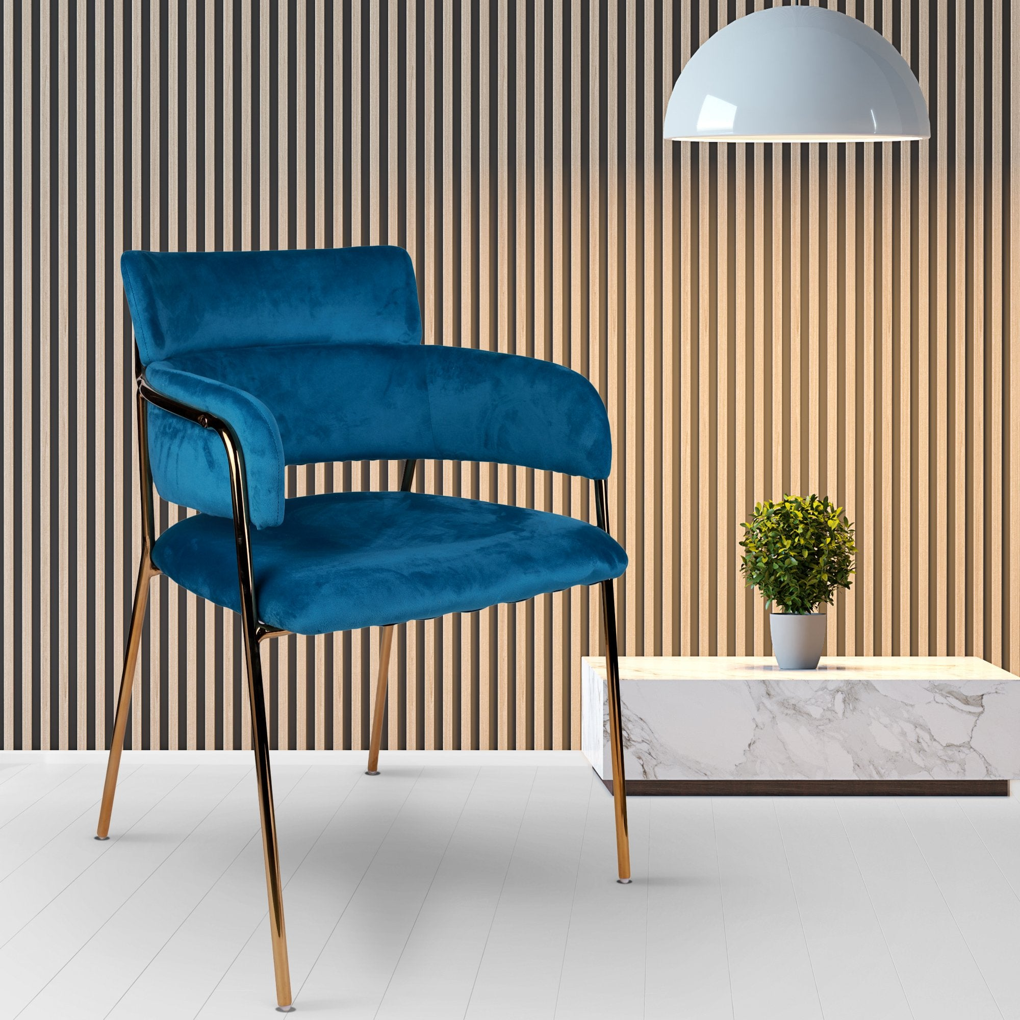 Blue Velvet Touch Lounge Chair