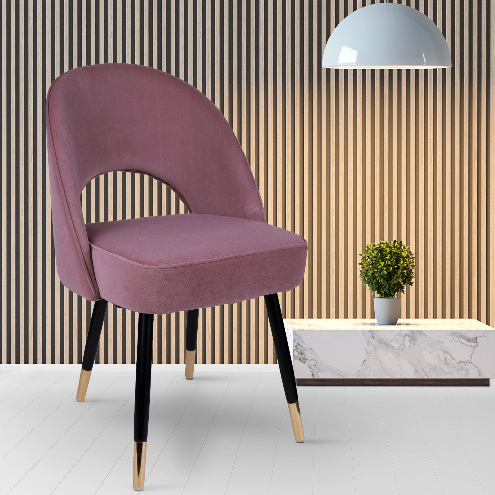 Chromed Gold Chair in Deep Ruby Color