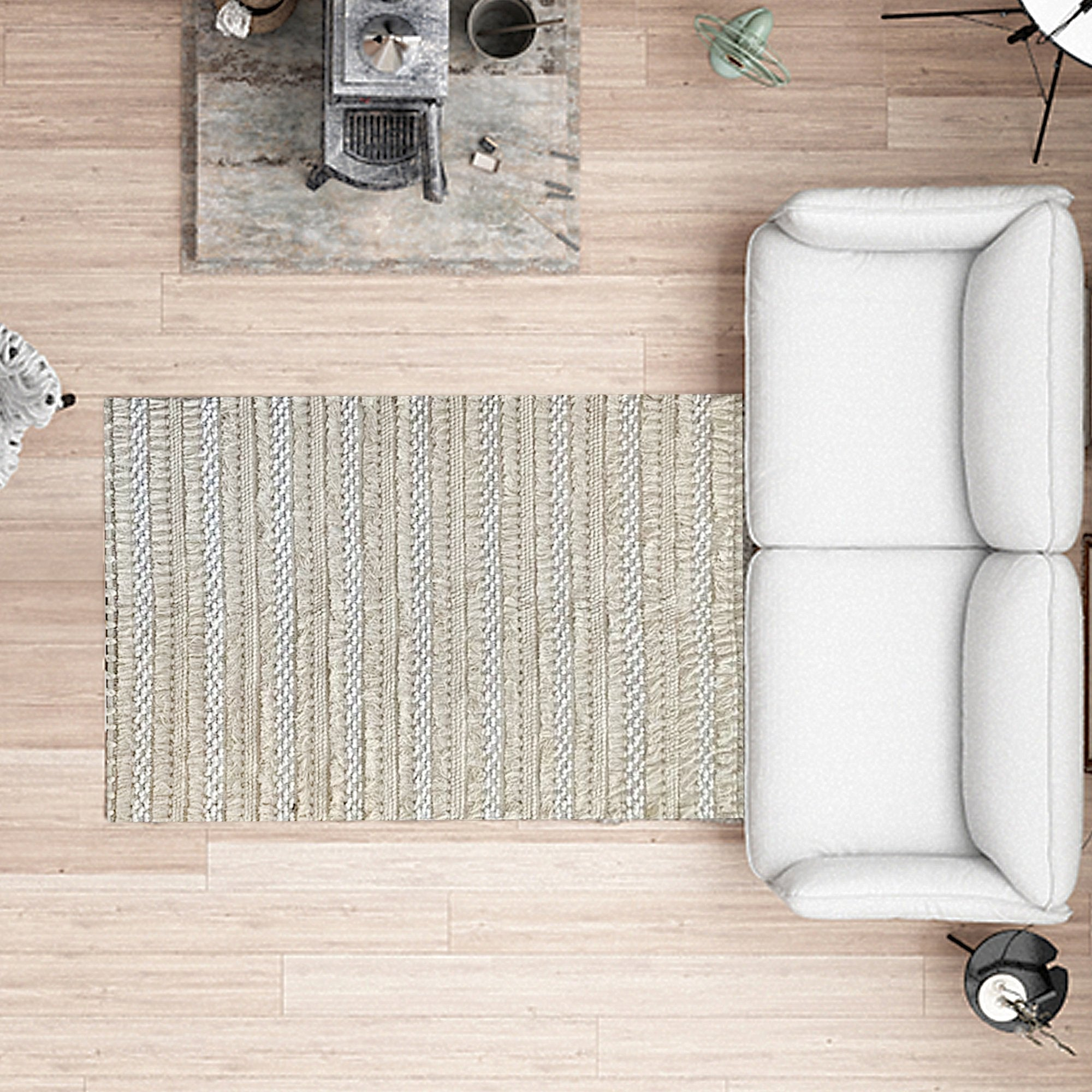 White and Cream Washed-out Pattern Floor Carpet - Teak Tale