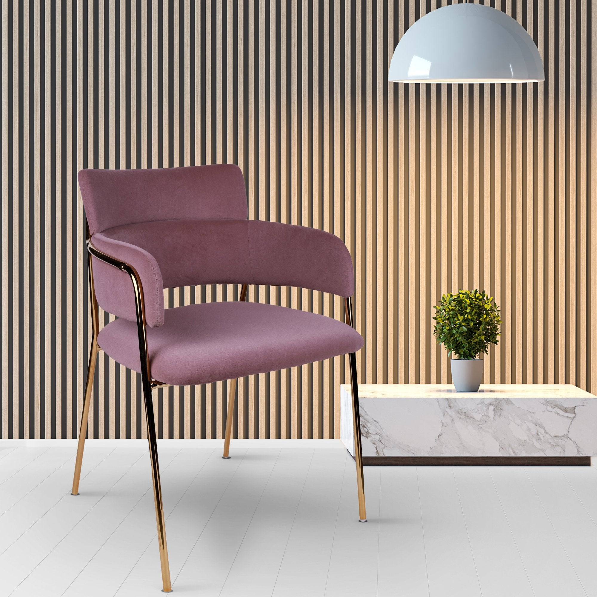 Pink Velvet Touch Chromed Gold Chair - Teak Tale