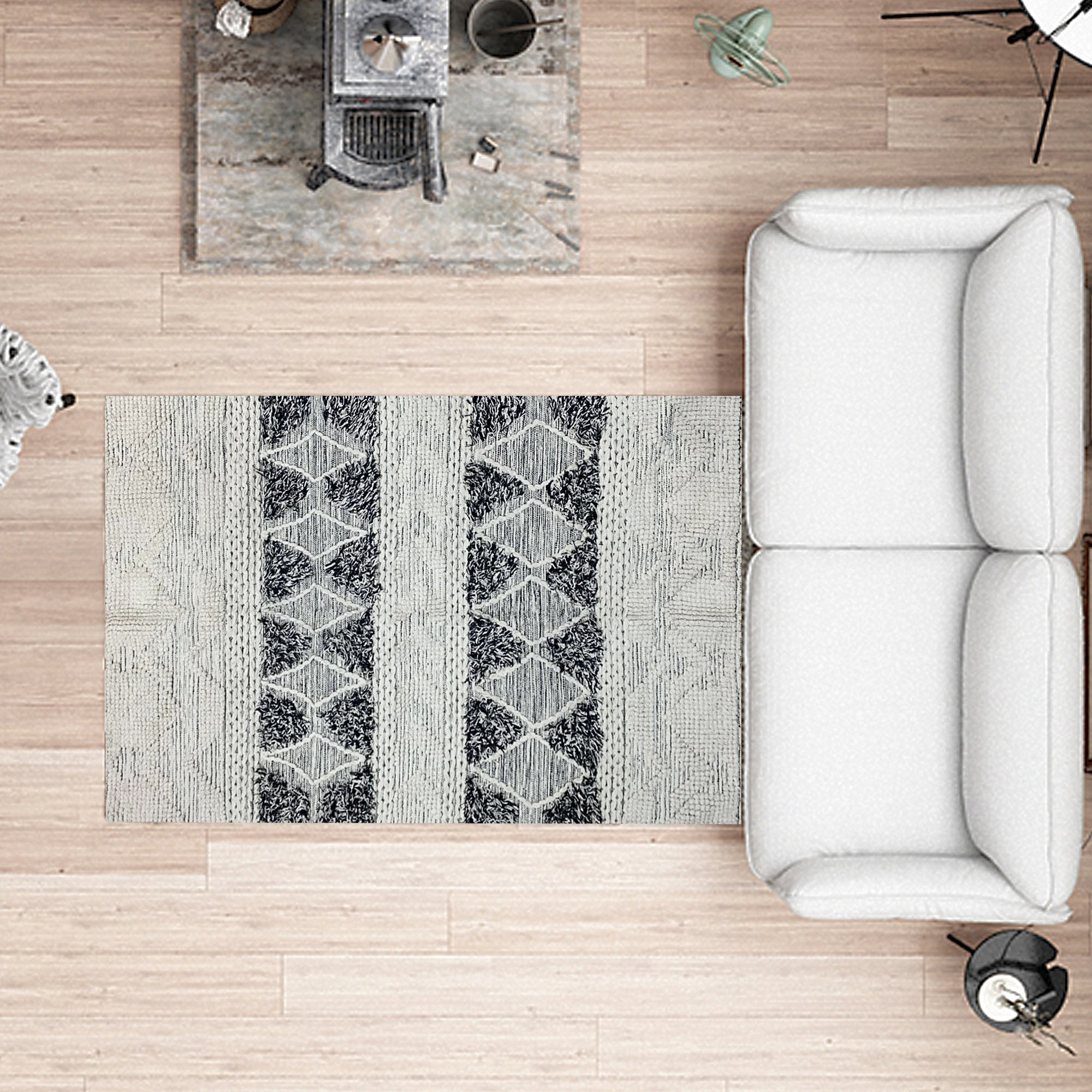 Grey and Black Abstract Pattern Floor Carpet - Teak Tale