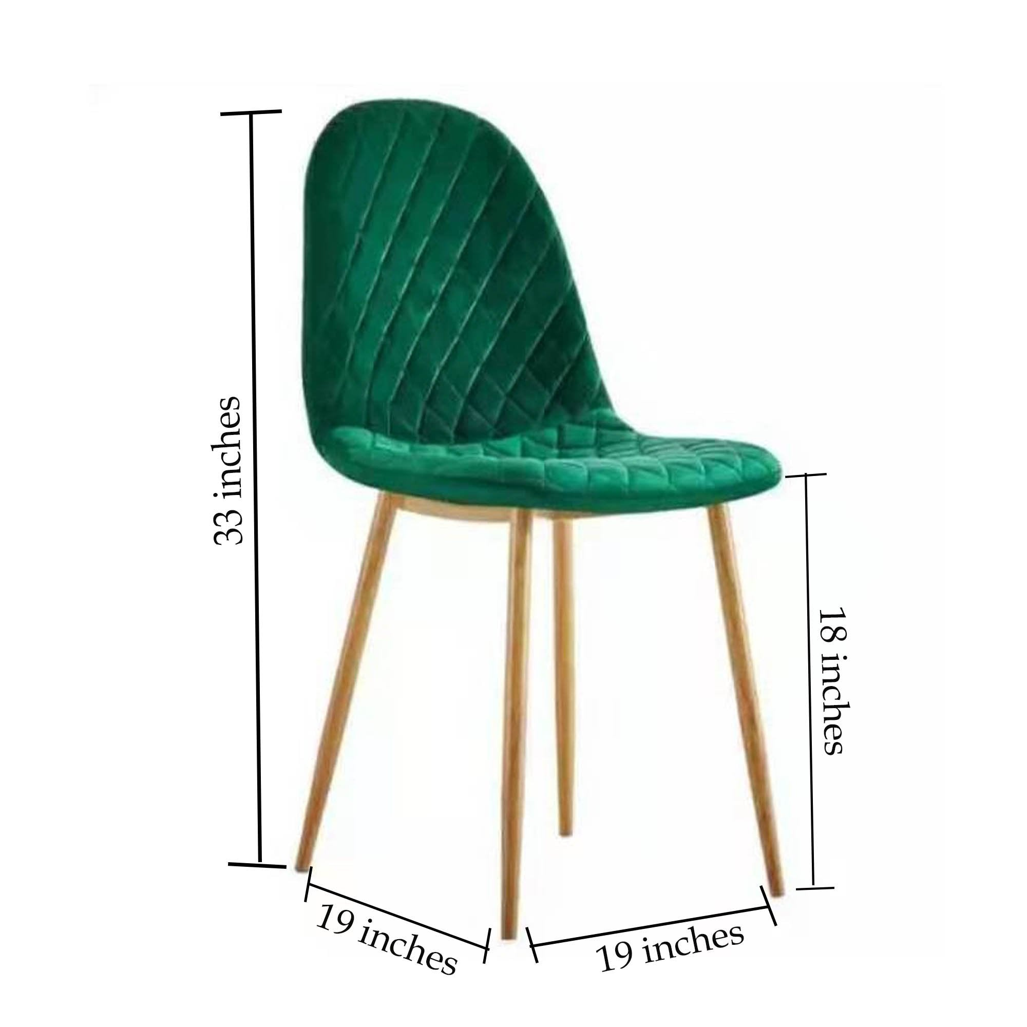 Green Velvet Fabric with Golden Legs Armless Chair