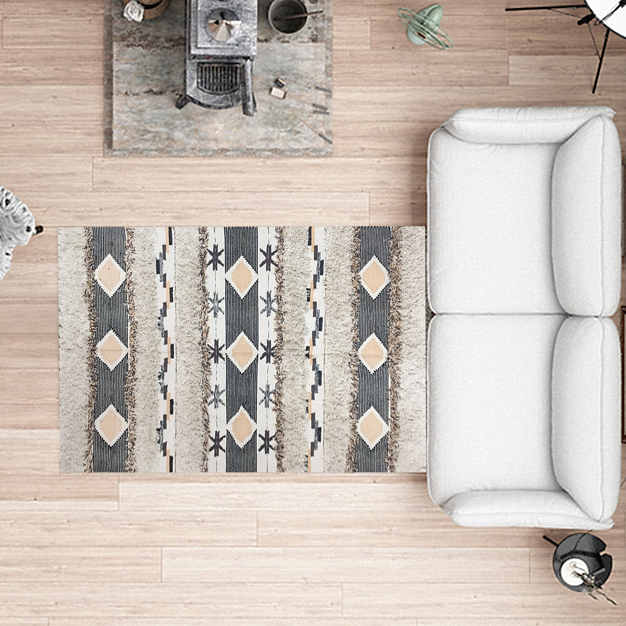Grey Abstract Pattern Floor Carpet
