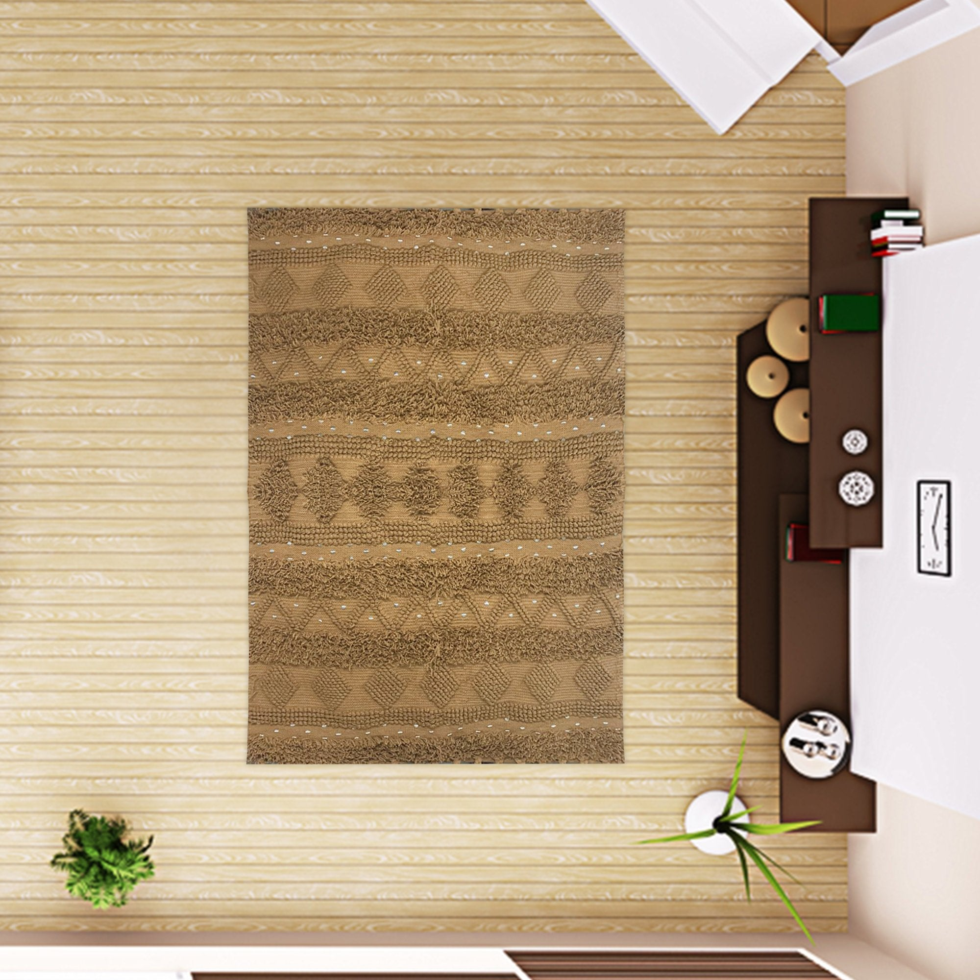Mustard Textured Abstract Pattern Carpet - Teak Tale