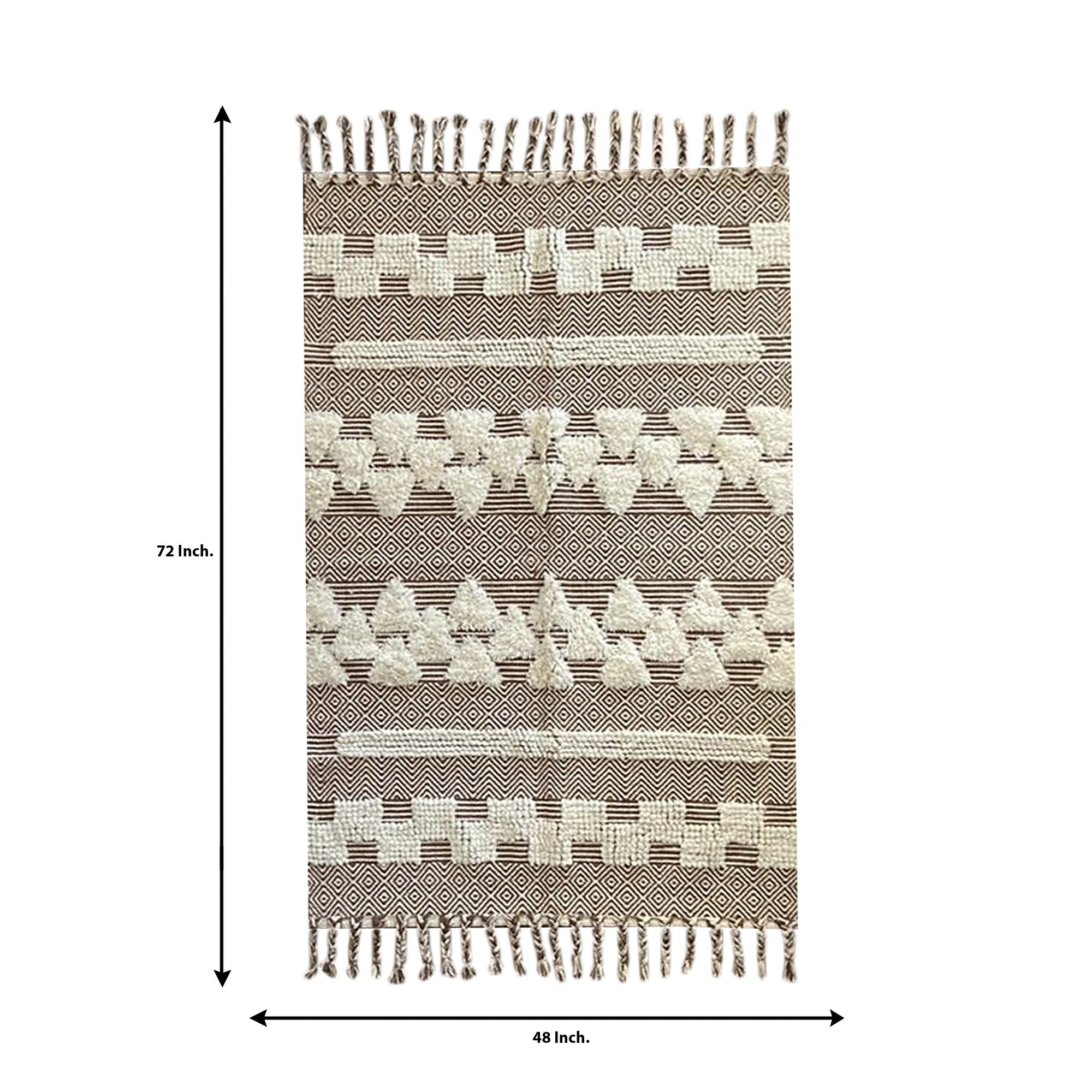 Light Brown Abstract Pattern Carpet - Teak Tale