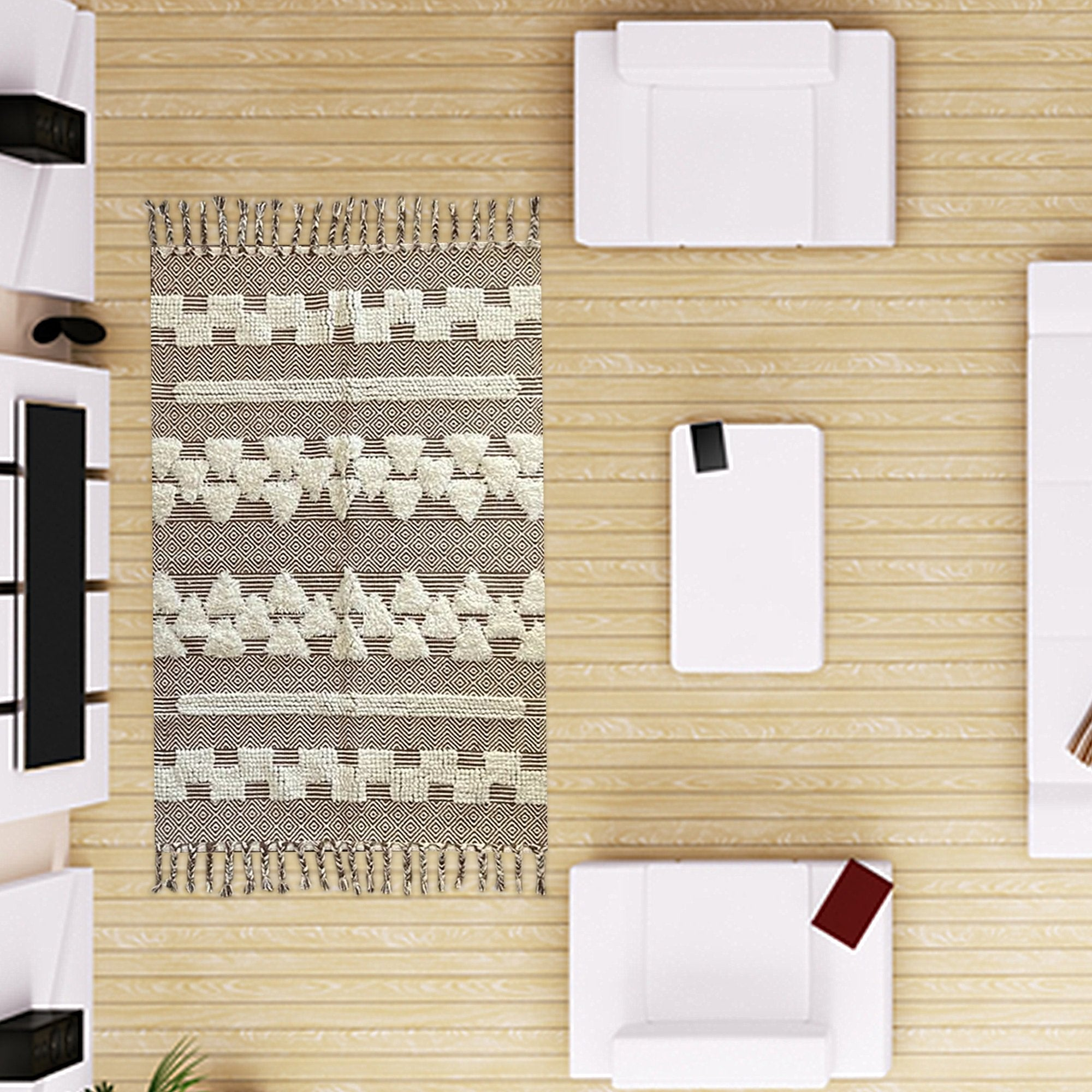 Light Brown Abstract Pattern Carpet