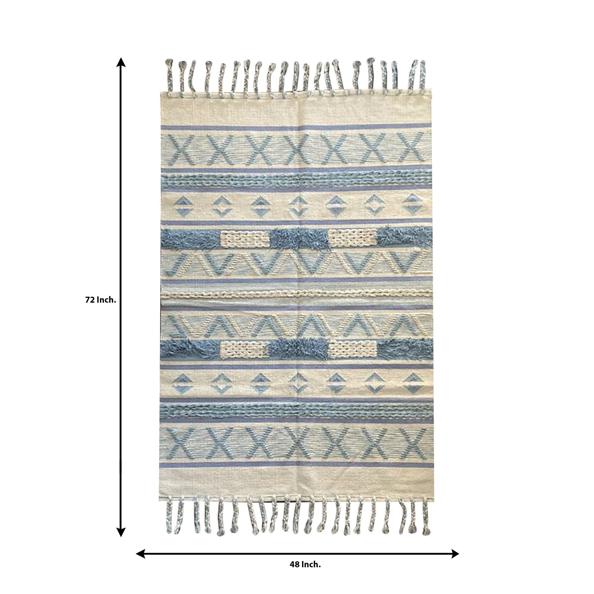 Light Blue and Cream Abstract Pattern Carpet - Teak Tale