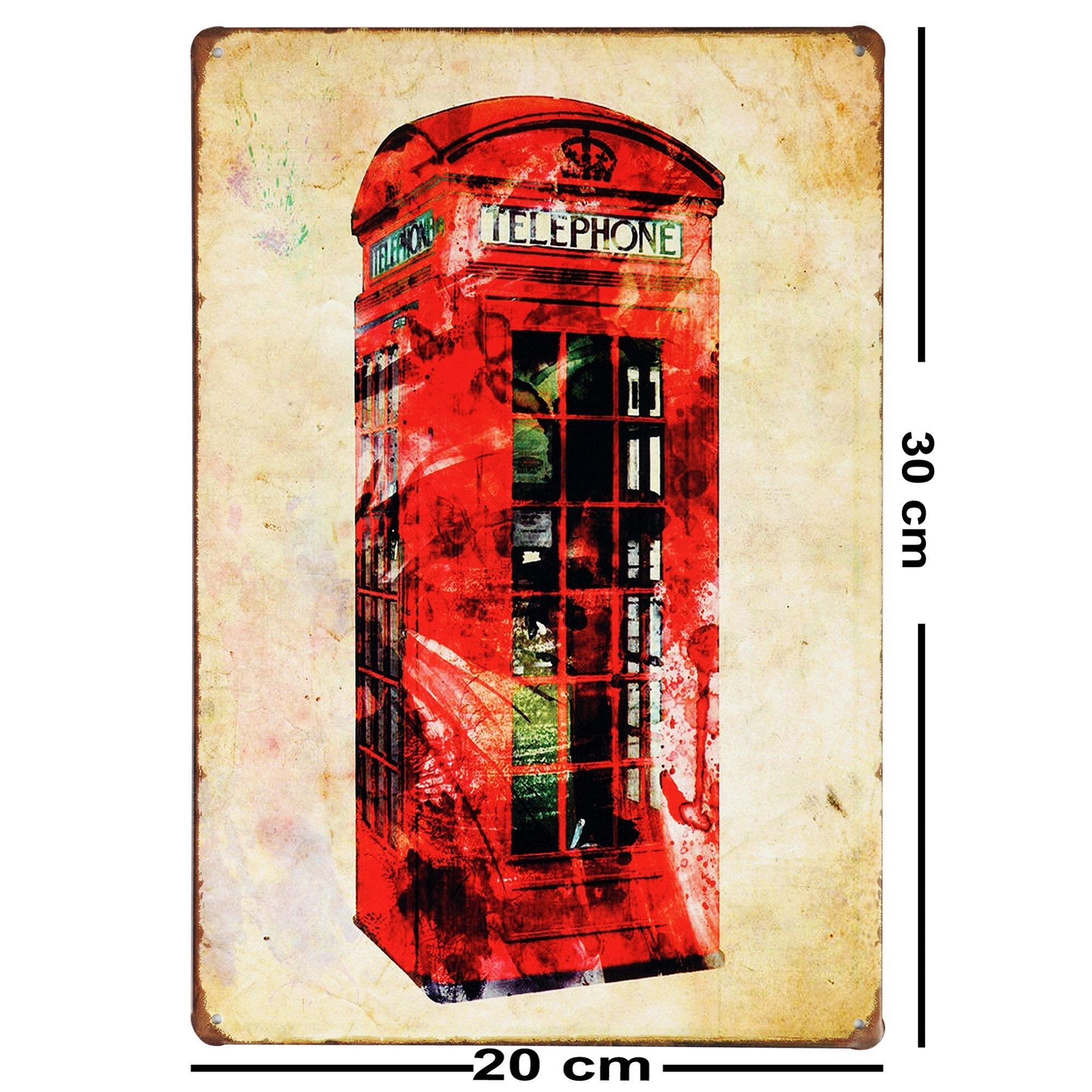 Red Telephone Booth Wall Plaque