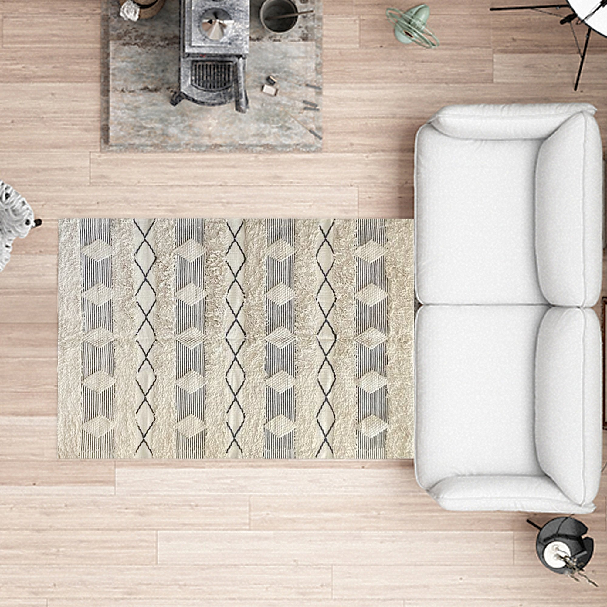 Light Yellow with Grey Abstract Pattern Floor Carpet