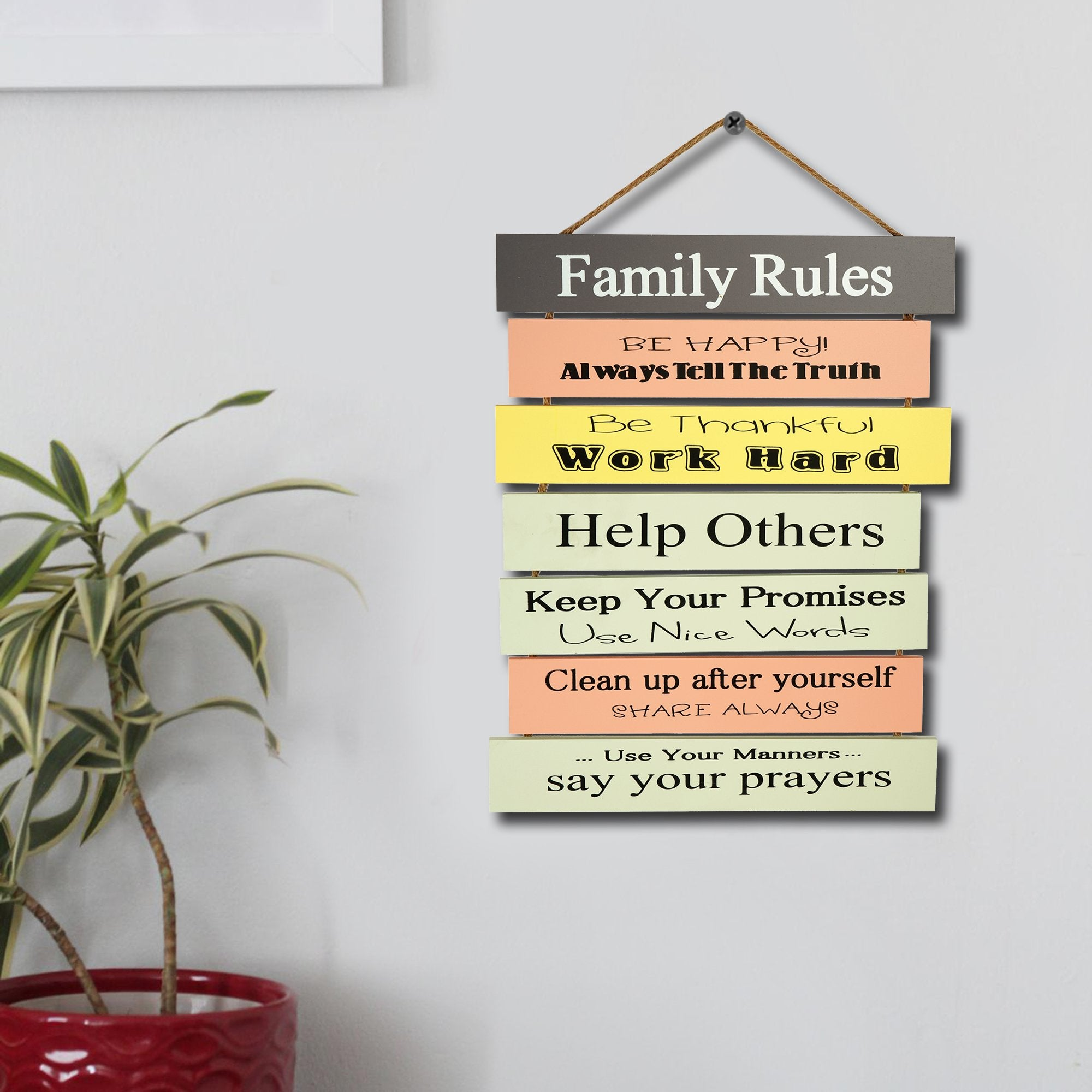 Family Rules Wall Plaque - Teak Tale