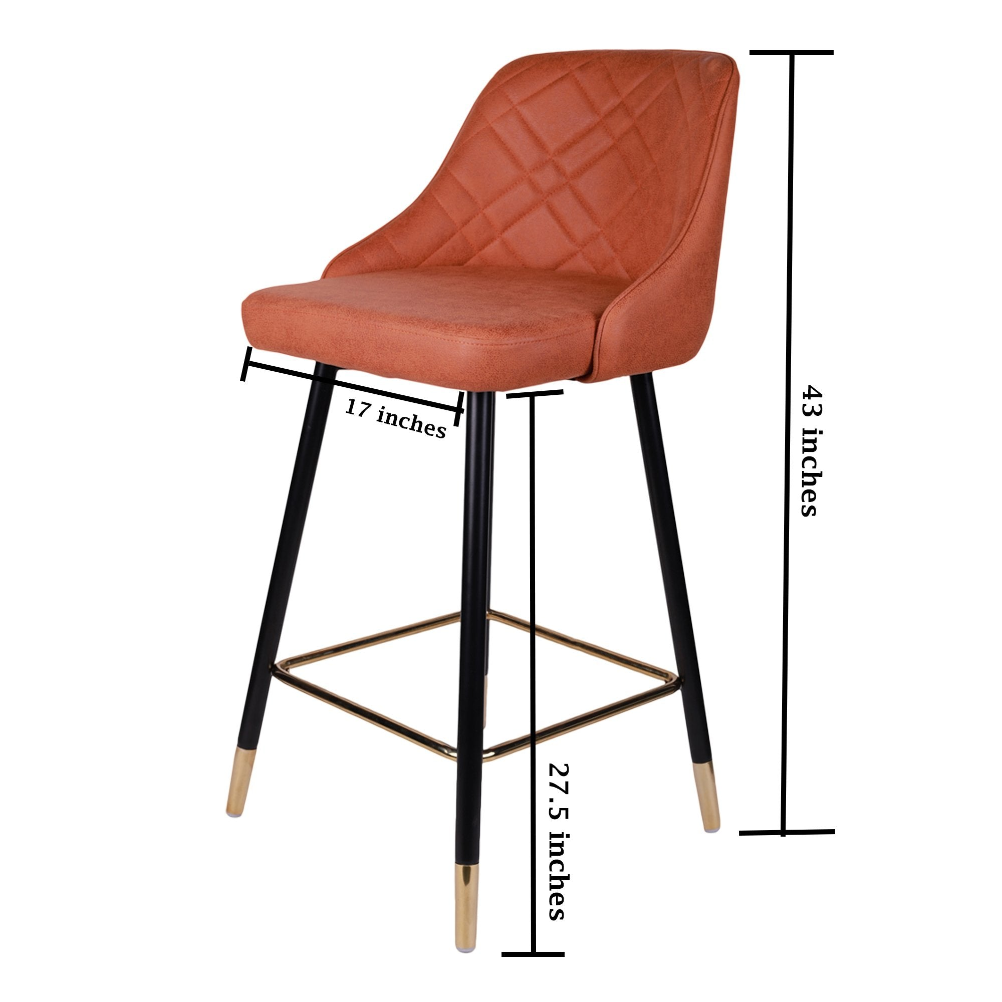 Metallic Orange Colored Bar Chair - Teak Tale