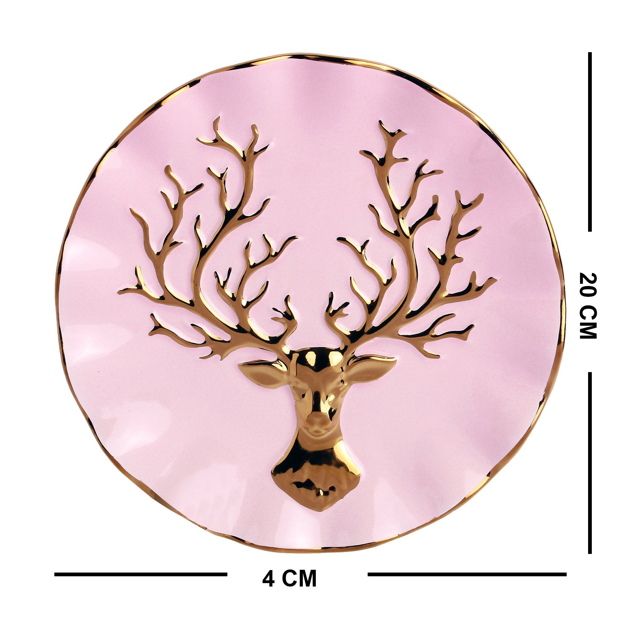 Light Pink Plate With Stag Printed