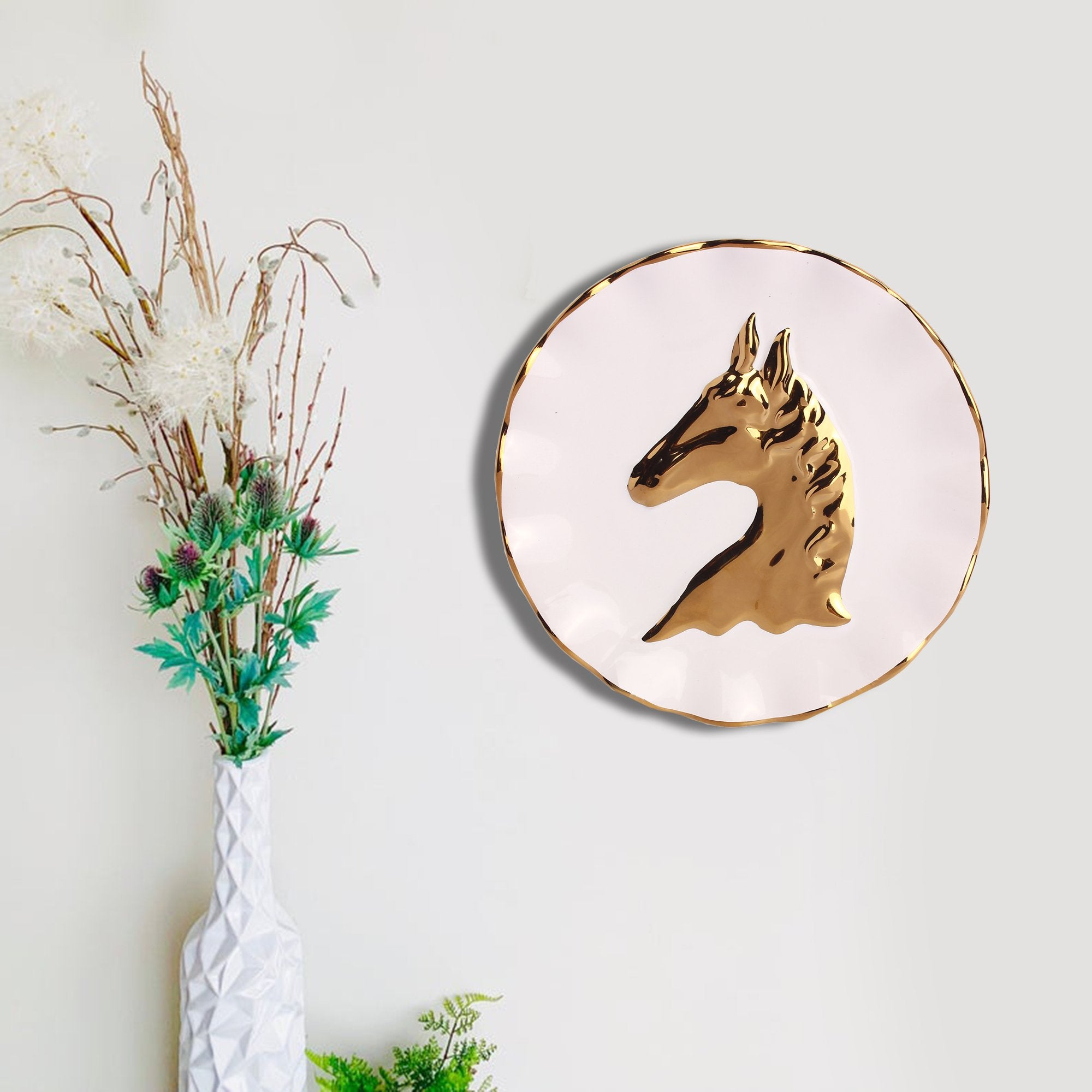 White Plate with unicorn printed from TeakTale Home Decors