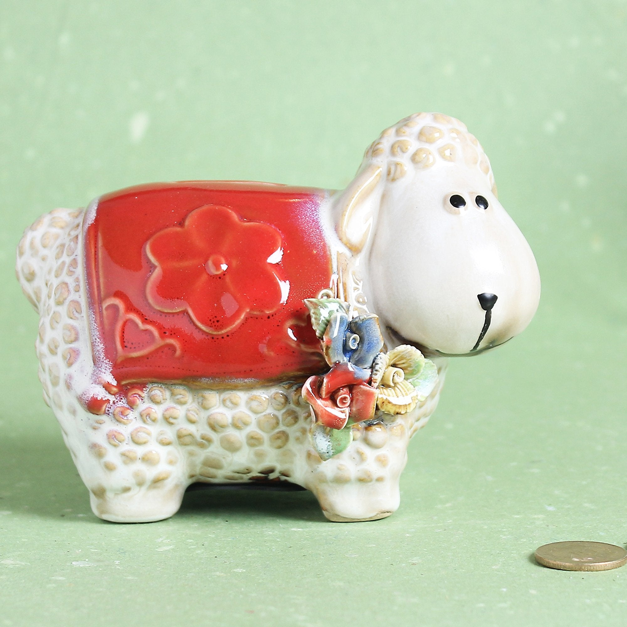 Dolly The Sheep Piggy Bank Red