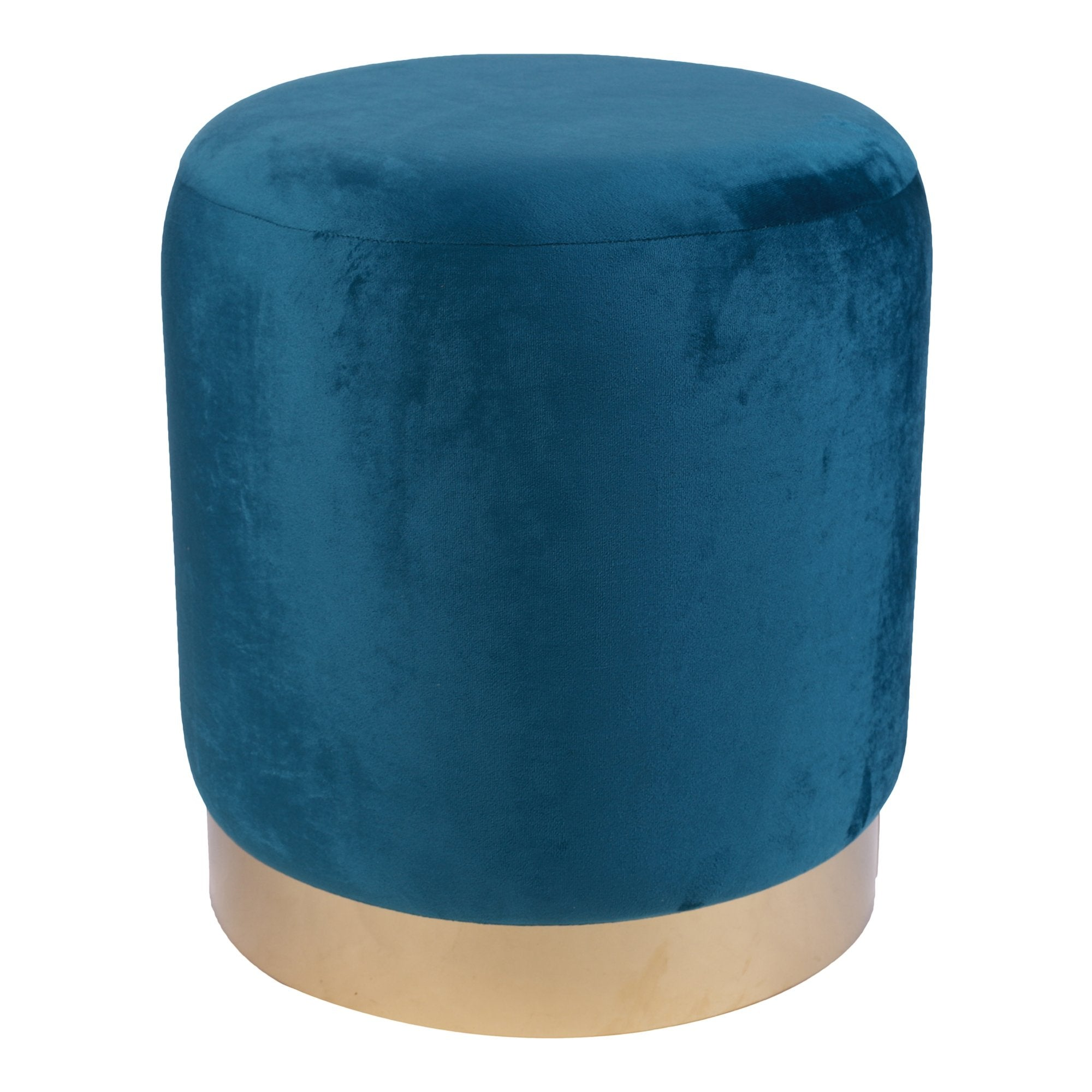 Round Ottoman in Royal Blue Color - Teak Tale