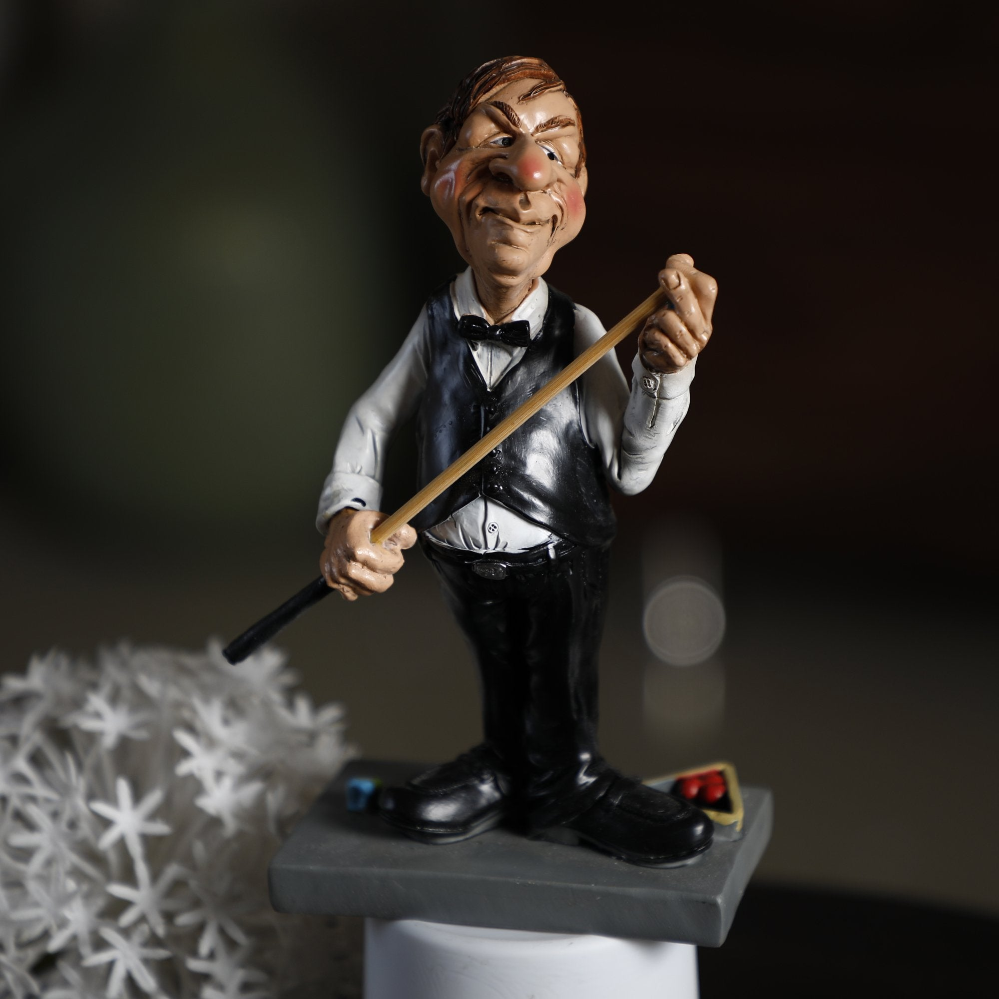 Small Man Figure With Billiard Stick